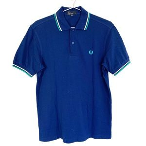 🔥Fred Perry Polo Shirt S mens Navy Striped Neck
